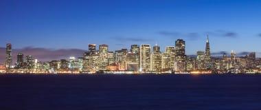 San Francisco Skyline. At night, with holiday season lights Royalty Free Stock Photography