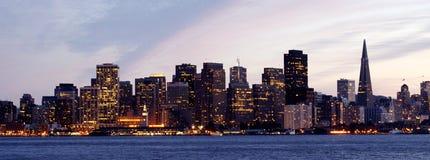 San Francisco Skyline. At Dusk from Treasure Island Royalty Free Stock Photos