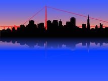 San Francisco skyline. Illustrated version of San Francisco with Golden Gate bridge behind royalty free illustration