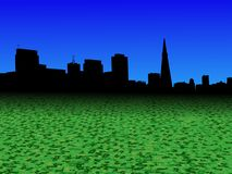 San Francisco skyline with abstract dollar currency foreground illustration Stock Image