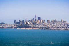 The San Francisco skyline as seen from across the bay; California stock images