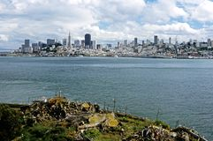 San Francisco Skyline as seen from Alcatraz. This image was shot on Alcatraz Island, and shows the San Francisco skyline. The image was shot with  a Nikon F5 and Stock Photography