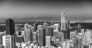 San Francisco Skyline as seen from helicopter, California Royalty Free Stock Photography