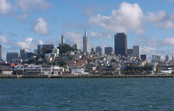 San Francisco skyline from the Bay. San Francisco skyline with Coit tower and Bank of America clearly visible. The blue waters of the Bay in the foreground blue Royalty Free Stock Photos