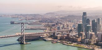 San Francisco Skyline and Bay Bridge as seen from helicopter Stock Photography