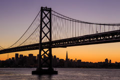 San Francisco skyline and Bay Bridge at sunset, California Royalty Free Stock Image