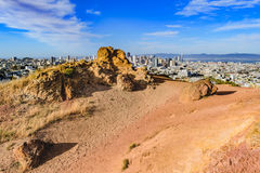 San Francisco Skyline  behind Corona Heights Stock Image