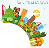 San Francisco Skyline with Color Buildings, Blue Sky and Copy Sp. Ace. Vector Illustration. Business Travel and Tourism Concept with Modern Buildings. Image for Stock Photo