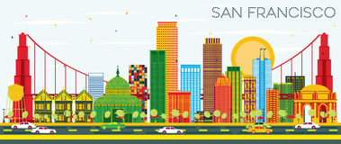 San Francisco Skyline with Color Buildings and Blue Sky. Royalty Free Stock Image