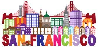 San Francisco Skyline ed illustrazione variopinta del testo Immagine Stock Libera da Diritti