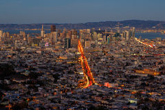San Francisco Skyline. With the entire city in view and the San Francisco Bay in the background, taken from Twin Peaks Park Stock Photography