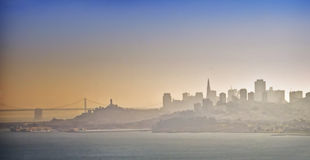San Francisco Skyline in Fog, California Royalty Free Stock Images