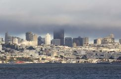 San Francisco Skyline in a foggy day Royalty Free Stock Images