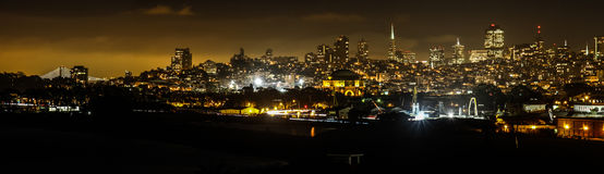 San Francisco Skyline from Fort Point at Night Royalty Free Stock Image