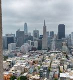 San Francisco skyline framed by Coit Tower Architecture.  stock photography