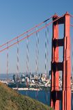 San Francisco skyline and the Golden Gate Bridge. royalty free stock images