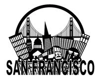 San Francisco Skyline Golden Gate Bridge Black and. San Francisco California Abstract Black and White Downtown City Skyline with Golden Gate Bridge and Cable Car Royalty Free Stock Photography