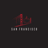 San francisco skyline and golden gate bridge vector design. Template illustration royalty free illustration