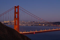 San Francisco Skyline Through Golden Gate Bridge Stock Photo