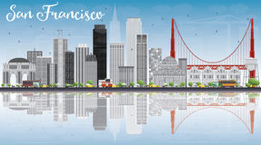 San Francisco Skyline with Gray Buildings, Blue Sky and Reflecti Stock Images