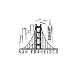 San francisco skyline grunge vector design template Royalty Free Stock Images