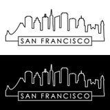 San Francisco skyline. Linear style. Royalty Free Stock Photo