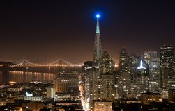 San Francisco skyline (night). A shot of San Francisco Financial District at night Stock Images