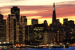 San Francisco skyline at night Stock Photo