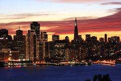 San Francisco skyline at night Stock Images