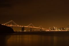San Francisco skyline at night Royalty Free Stock Images