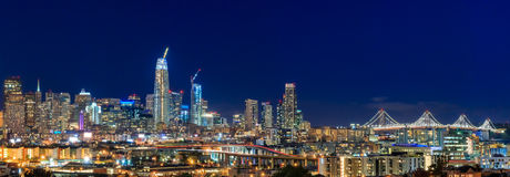 San Francisco skyline night panorama with city lights, the Bay B Stock Images