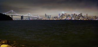 San Francisco skyline at night from Yerba Buena Island Royalty Free Stock Photos