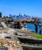 San Francisco skyline with broken dock in the foreground. San Francisco skyline with old broken dock in the foreground stock photo