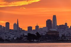 San Francisco skyline sunrise Stock Photo
