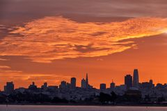 San Francisco skyline sunrise Stock Image