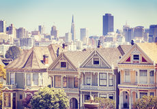 San Francisco skyline with Painted Ladies buildings. Royalty Free Stock Photo