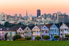 San Francisco skyline with the Painted Ladies, California, USA. Royalty Free Stock Photography