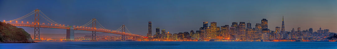 San Francisco Skyline Panorama at Dusk Royalty Free Stock Photo