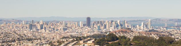 San Francisco skyline panoramic view. Day time, taken from San Bruno State Park Royalty Free Stock Photography