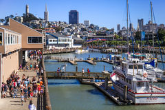 San Francisco Skyline and Pier 39 Marina Stock Images