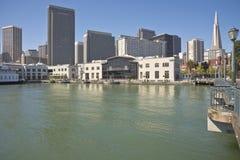 San Francisco skyline and promenade California. San Francisco skyline and waterfront promenade California stock photo