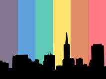 San Francisco skyline rainbow flag Royalty Free Stock Photo