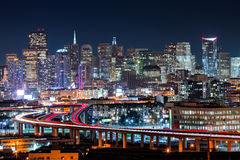 San Francisco skyline. With rush hour traffic on the winding highways Stock Photo