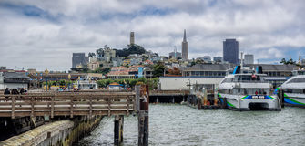 San Francisco skyline seen from Pier 39 Royalty Free Stock Image