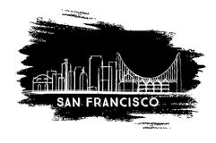 San Francisco Skyline Silhouette. Hand Drawn Sketch. Stock Photography