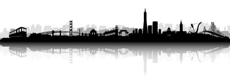 San Francisco Skyline Silhouette Vector Royalty Free Stock Photos