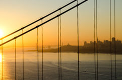 San Francisco skyline during sunrise. Photo taken through Golden Gate Bridge  from Sausalito side of the bay, Hendrik point, with city skyline on the background Royalty Free Stock Photography