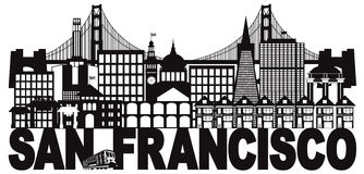 San Francisco Skyline and Text Black and White vector Illustration vector illustration
