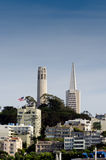 San Francisco. A skyline view of downtown San Francisco Coit tower and trans america buildings Royalty Free Stock Photo