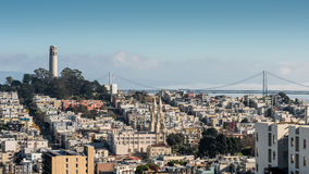 San Francisco Skyline Viewed from Lombard Street Stock Photos